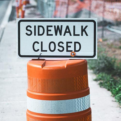 Sidewalk Closed Signs in Orlando, FL